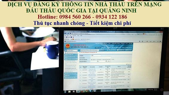 Dịch vụ đăng ký thông tin nhà thầu trên mạng đấu thầu quốc gia tại Quảng Ninh