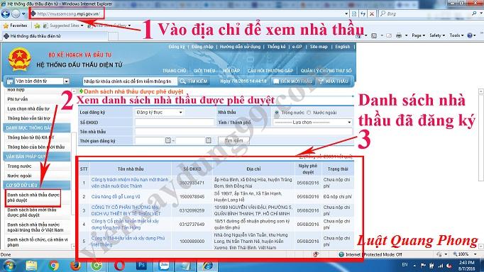 Thủ tục đăng ký thông tin nhà thầu trên mạng đấu thầu quốc gia tại Quảng Ninh