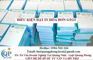 Điều kiện đặt in hóa đơn GTGT