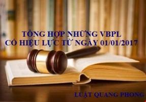 Những văn bản pháp luật có hiệu lực từ ngày 01.01.2017