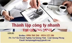 Thành lập công ty lấy nhanh tại Quảng Ninh
