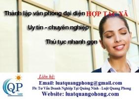 Thành lập văn phòng đại diện hợp tác xã tại Quảng Ninh