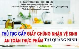 Xin cấp giấy chứng nhận vệ sinh an toàn thực phẩm tại Quảng Ninh